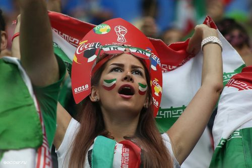 Female fan of Iran at Iran-Morocco match, 2018 FIFA World Cup