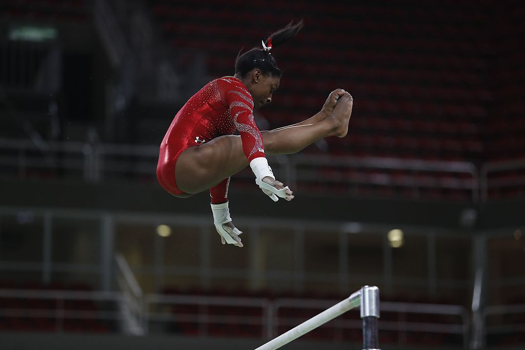 Ms. Biles using the bars during the 2016 Olympics in Rio de Janeiro.