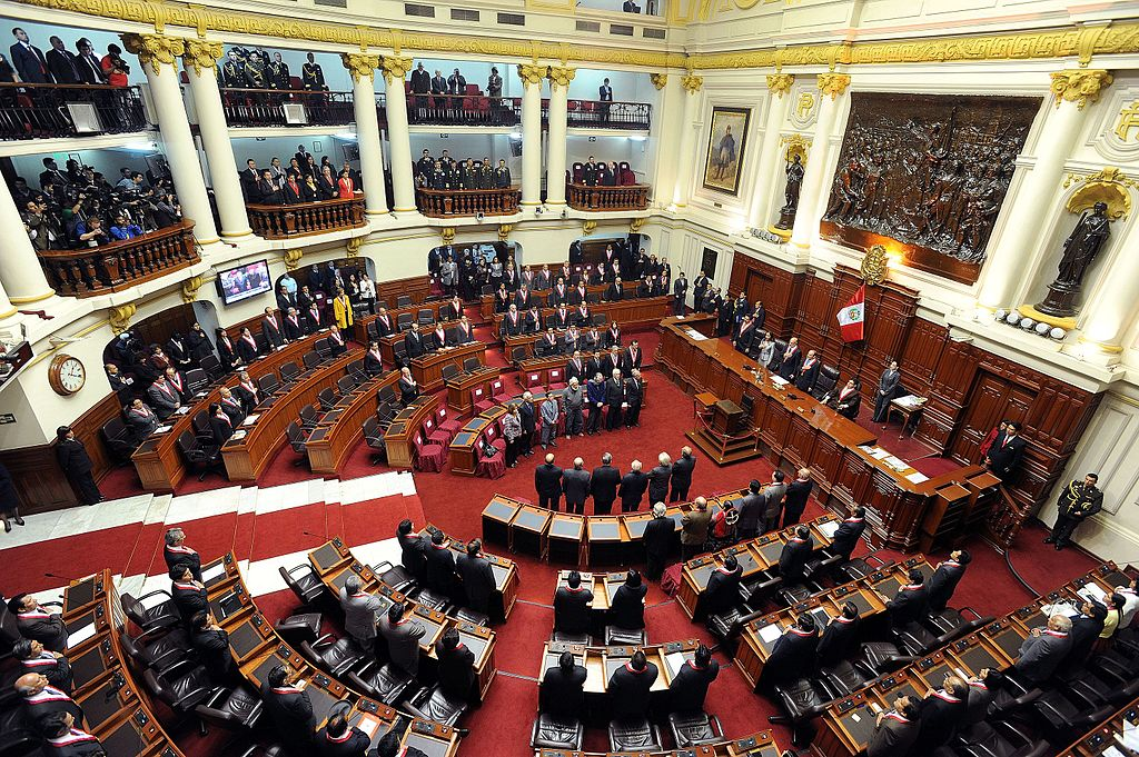 Panoramic hemicycle session of Congress of the Republic of Peru, environment where the plenary sessions of Parliament are held. 2011
