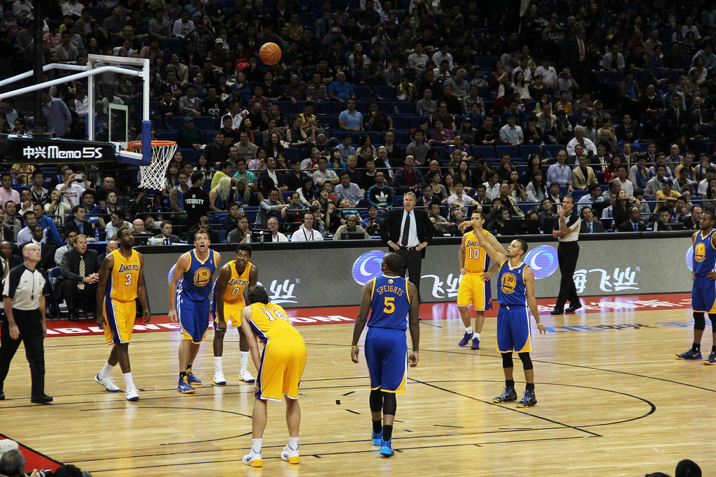 Golden State Warriors play the Los Angeles Lakers in China in 2013.