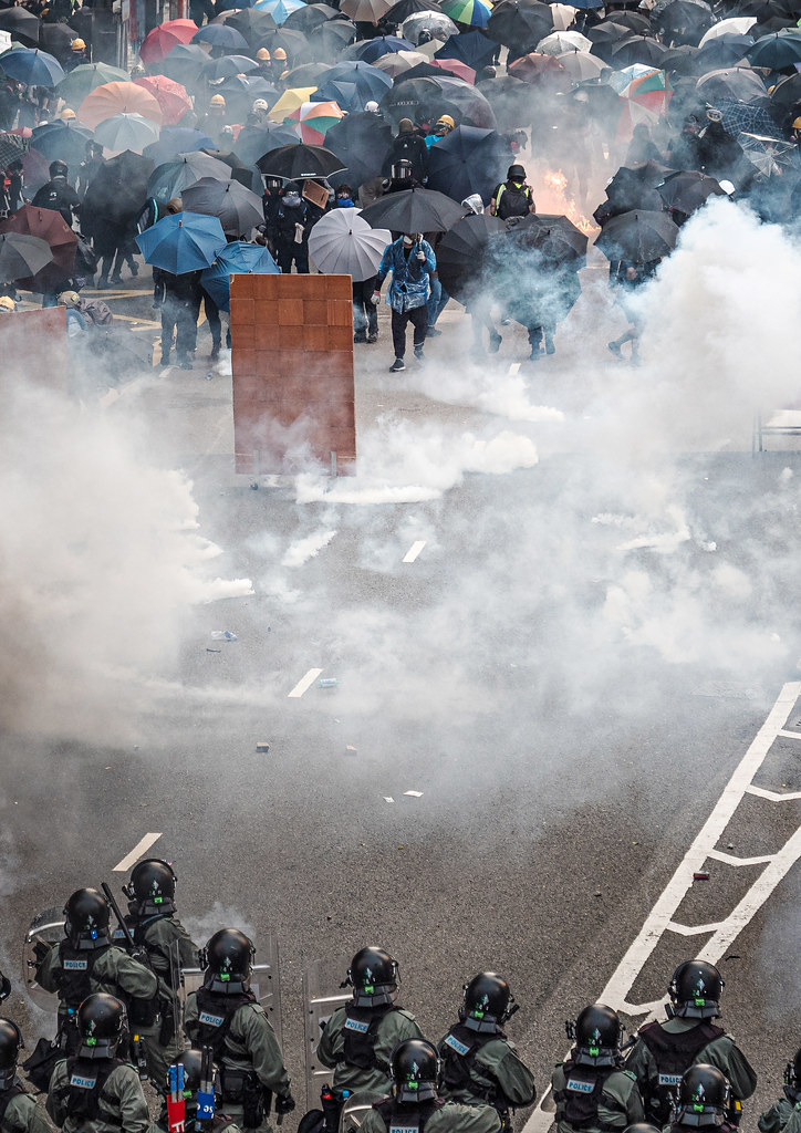 Police use teargas on protesters in Hong Kong on September 29, 2019