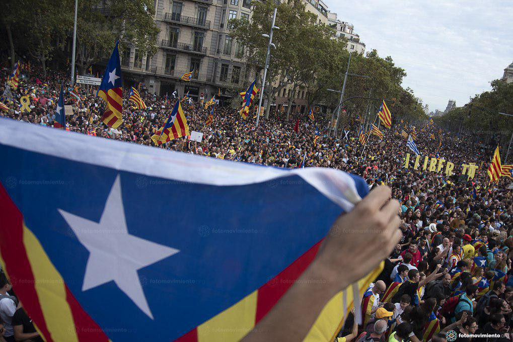 Catalan flag in foreground, peaceful protesters in the background
