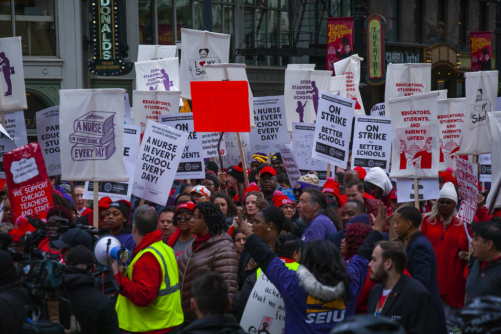 Striking Chicago Teachers March Through Downtown Chicago Illinois 10-17-19_3906