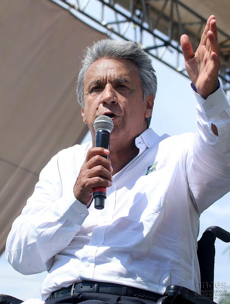 Lenin Moreno speaking in 2017 when he was running for president.