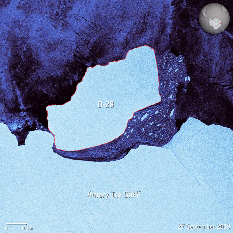 Satellite image of D-28 floating free of the Amery Ice Shelf.