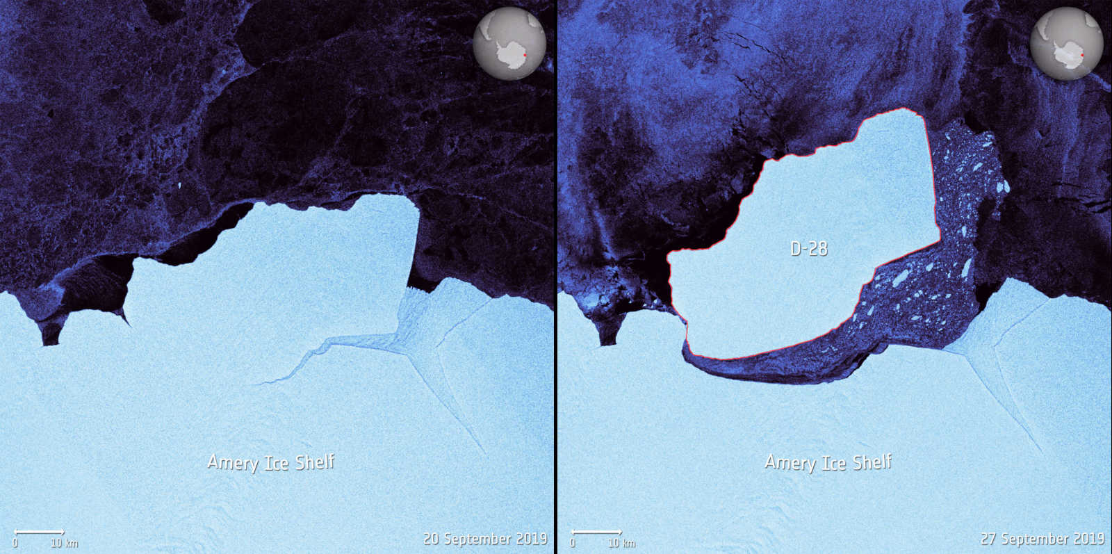 Satellite images taken before and after D-28 broke free of the Amery Ice Shelf in Antarctica.