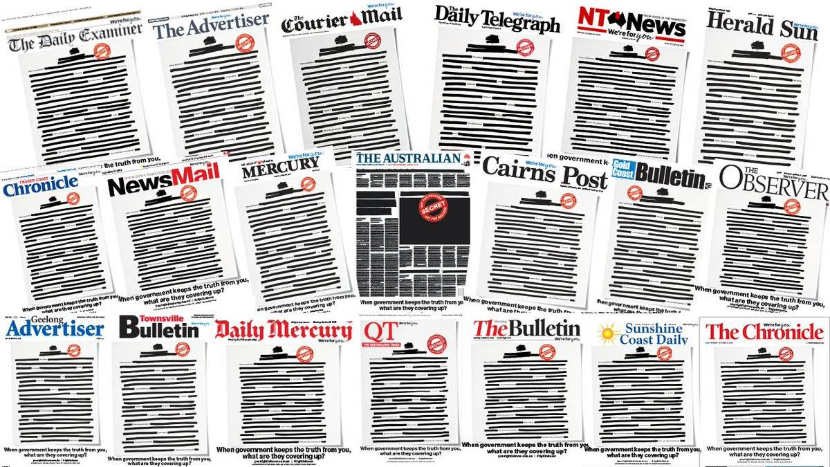 Almost every newspaper in Australia came out with most of the front page blacked out on Monday, October 21, 2019.