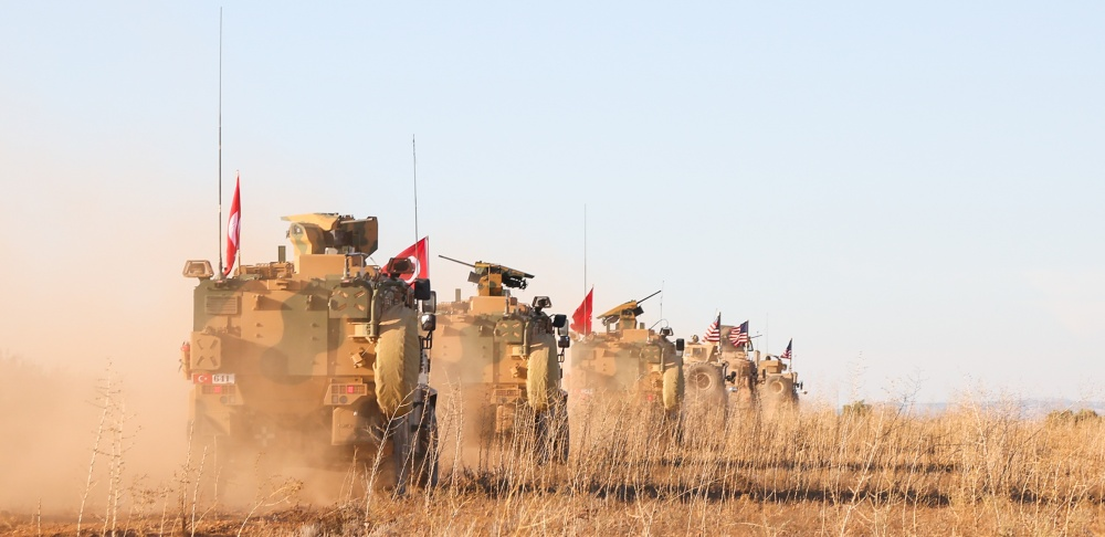 U.S. and Turkish soldiers conduct the first-ever combined joint patrol on Nov. 1, 2018, outside Manbij, Syria