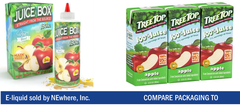Vaping liquid packaged as if it were a children's juice box shown next to a pack of children's juice boxes.