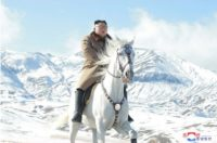 North Korean leader Kim Jong-un on horseback on Paektu Mountain.