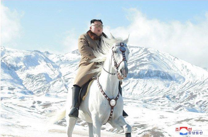 North Korean leader Kim Jong-un on horseback on Paektu Mountain.