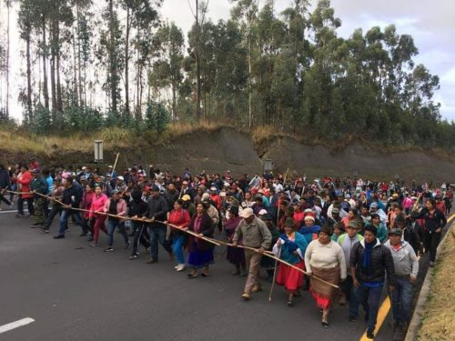 A group of indigenous people march toward Quito.