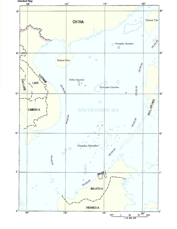 Nine-dash line shown in map submitted by the People's Republic of China to the United Nations Commission on the Limits of the Continental Shelf.