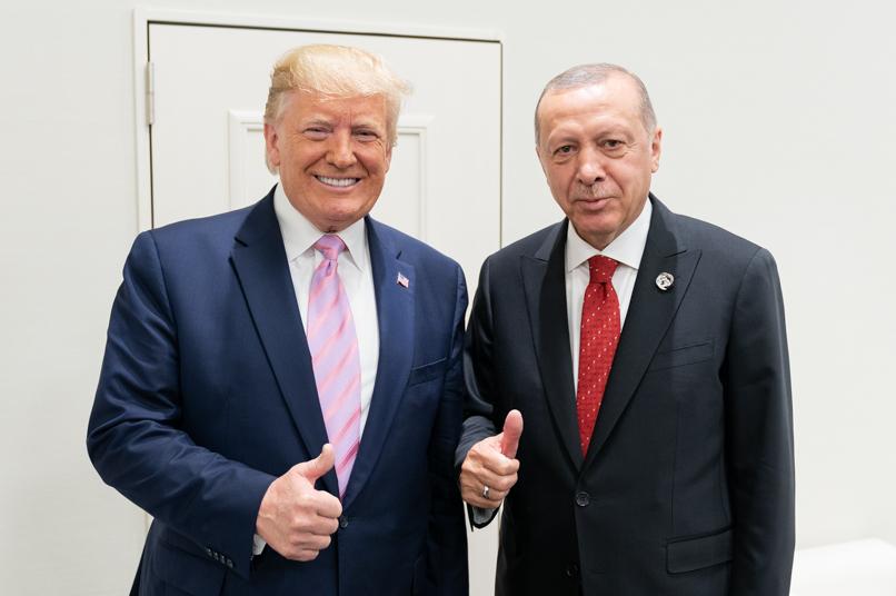 President Donald J. Trump talks with President of the Republic of Turkey Recep Tayyip Erdogan
