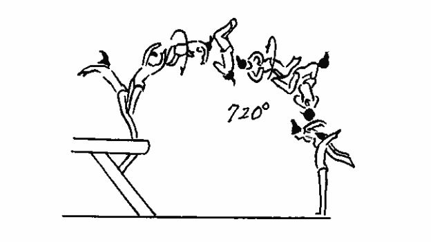 Drawing of Ms. Biles's double-double dismount, which has a double-twist and a double backflip.