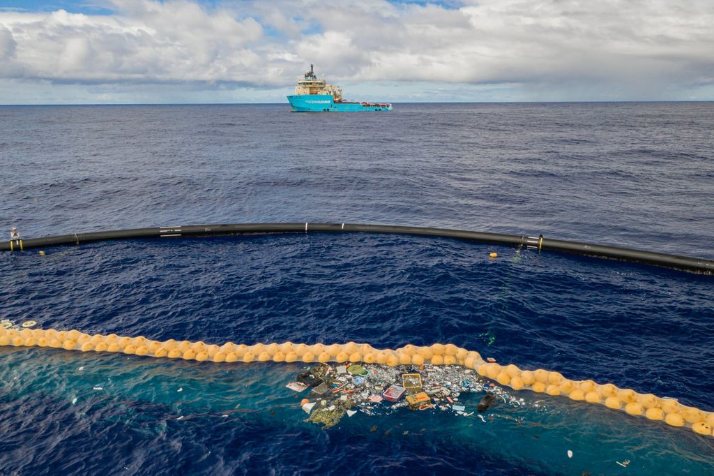 Plastic collected in the cork line of the Ocean Cleanup's System 001/B.