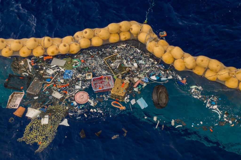 Plastic collected in the cork line of the Ocean Cleanup's System 001/B