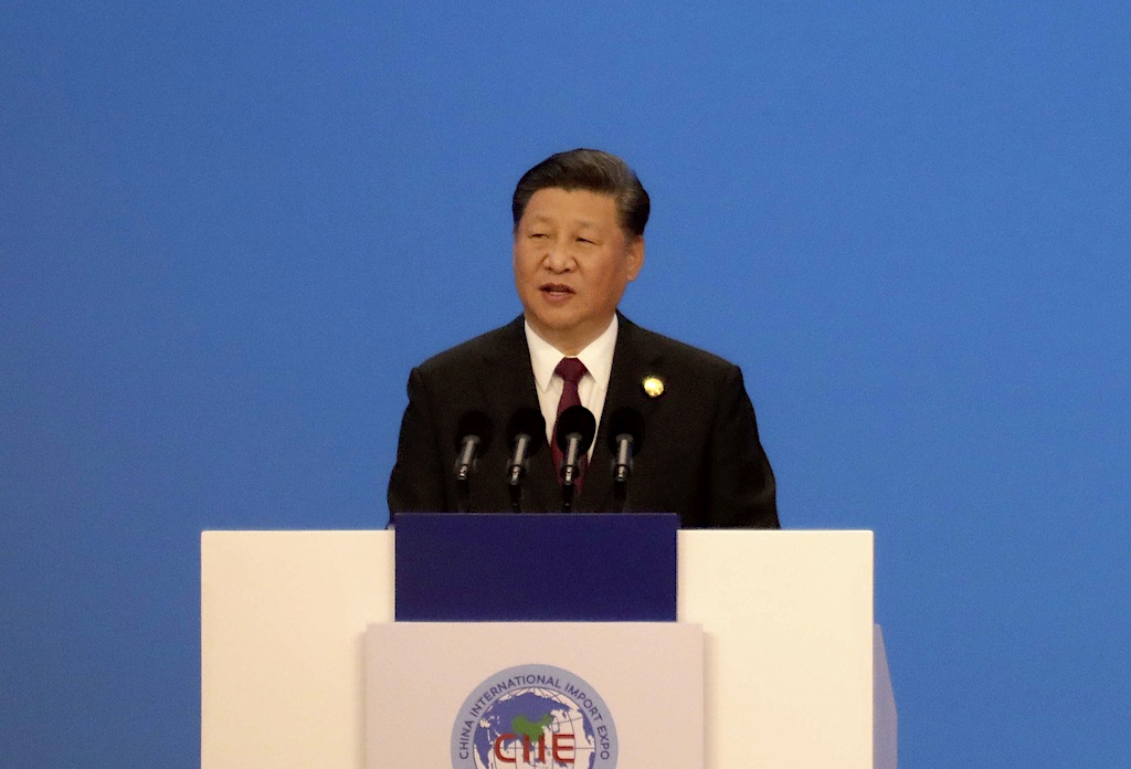 Xi Jinping speaks to an international Export Exposition in Shanghai, China.