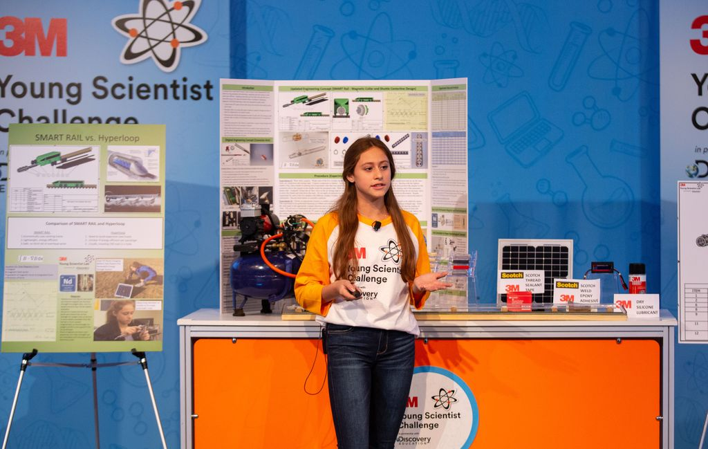 Caroline Crouchley explains her project at the 2019 3M Young Scientist Challenge.