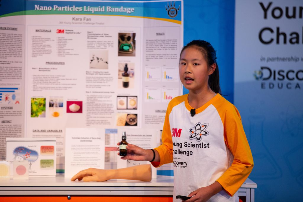 Kara Fan explains her project at the 2019 3M Young Scientist Challenge.