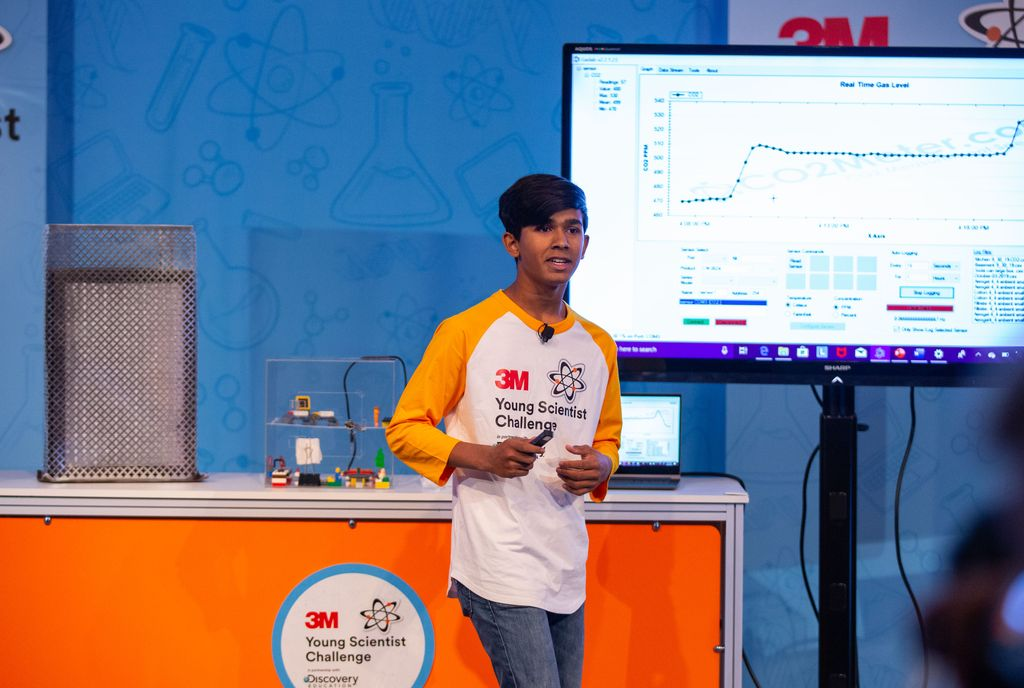 Nishant Lahiri explains his project at the 2019 3M Young Scientist Challenge.