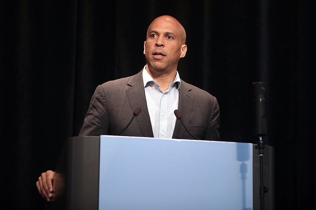 U.S. Senator Cory Booker speaking with attendees at the 2019 Iowa Federation of Labor Convention hosted by the AFL-CIO at the Prairie Meadows Hotel in Altoona, Iowa.