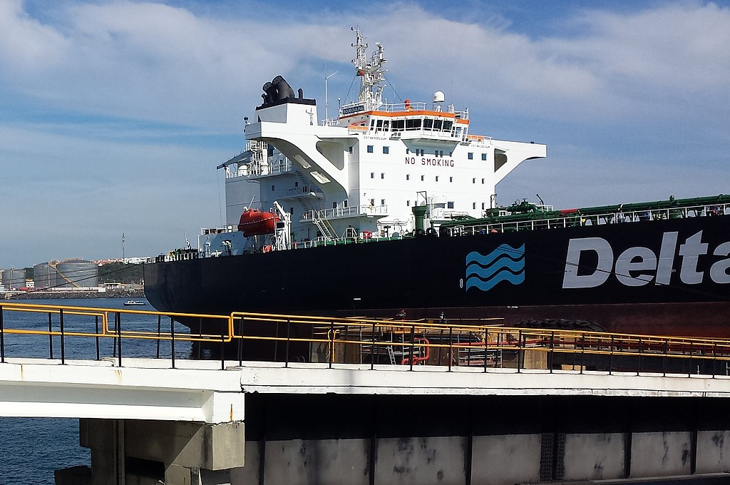 Crude tankership Bouboulina in transaction port for loading and unloading oil cargoes.