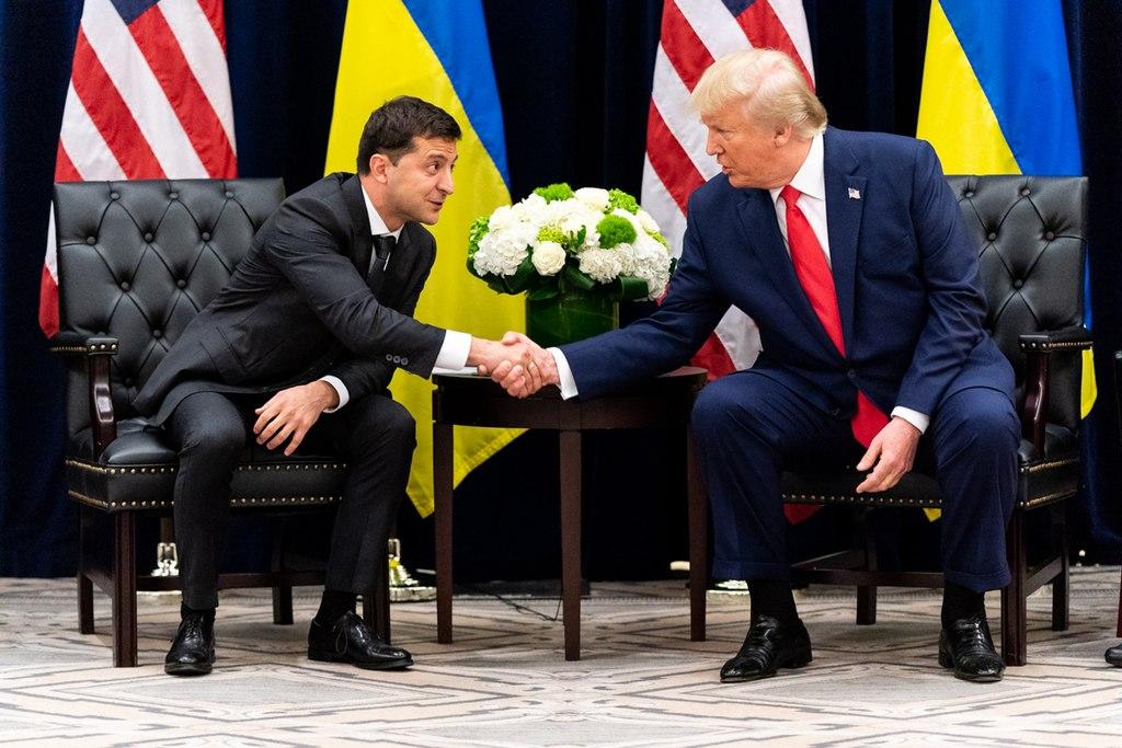 President Donald J. Trump participates in a bilateral meeting with Ukraine President Volodymyr Zalensky Wednesday, Sept. 25, 2019.