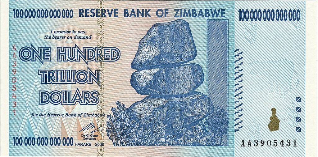 The Obverse of the 2009 Zimbabwe $100 trillion banknote.