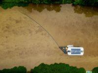 Aerial view of the Ocean Cleanup's Interceptor in Jakarta, Indonesia.