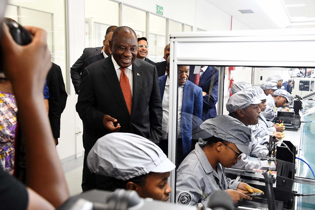 President Cyril Ramaphosa during a walk-about at the launch of launch of the Mara Phone Manufacturing Plant in Durban. [Photo: GCIS]