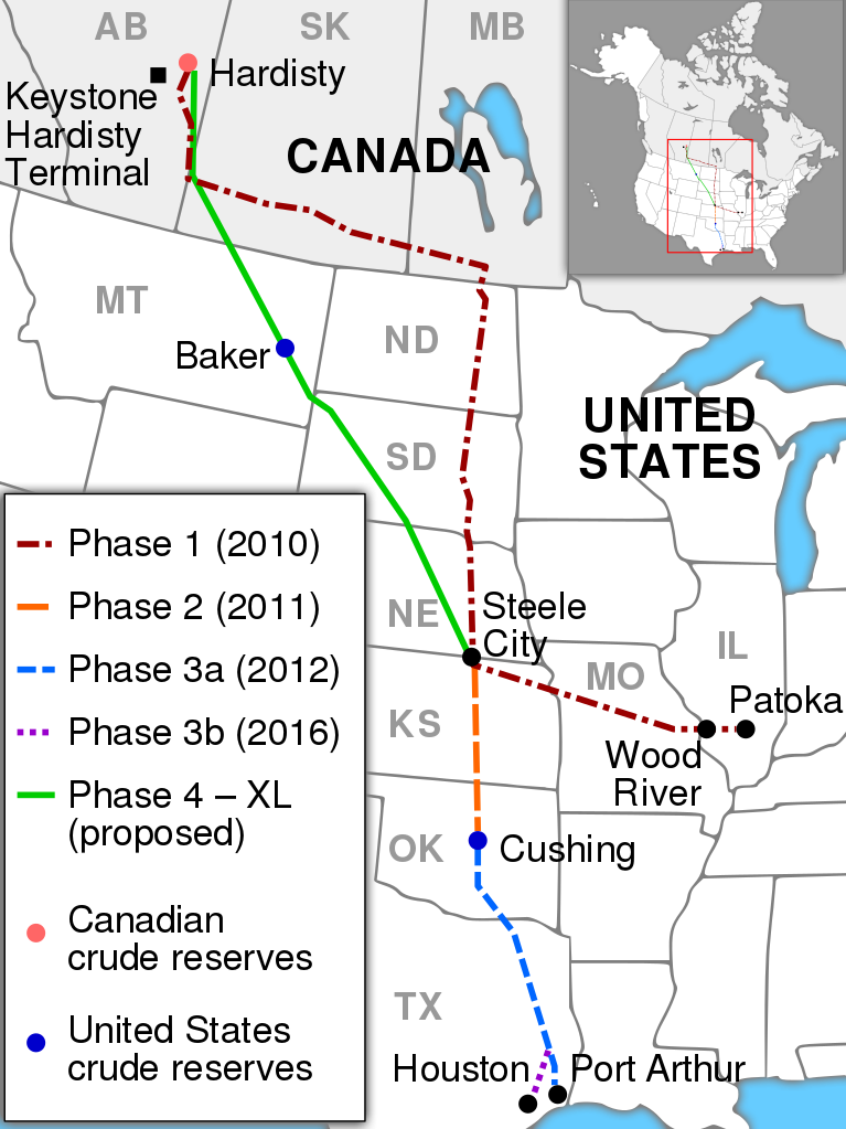Operational and proposed route of the Keystone Pipeline System. (Data source:TransCanada)