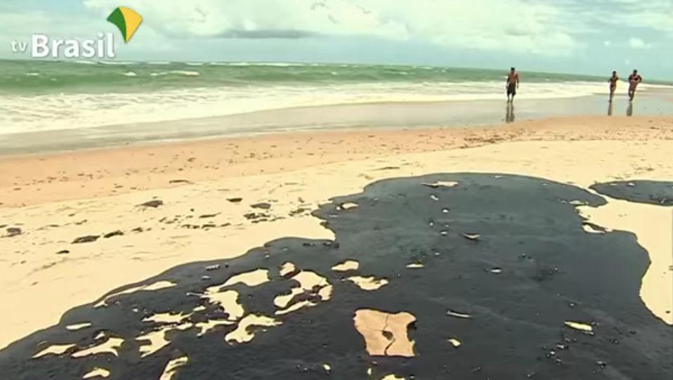 Oil spill on the beach in Belém, Para, Brazil.