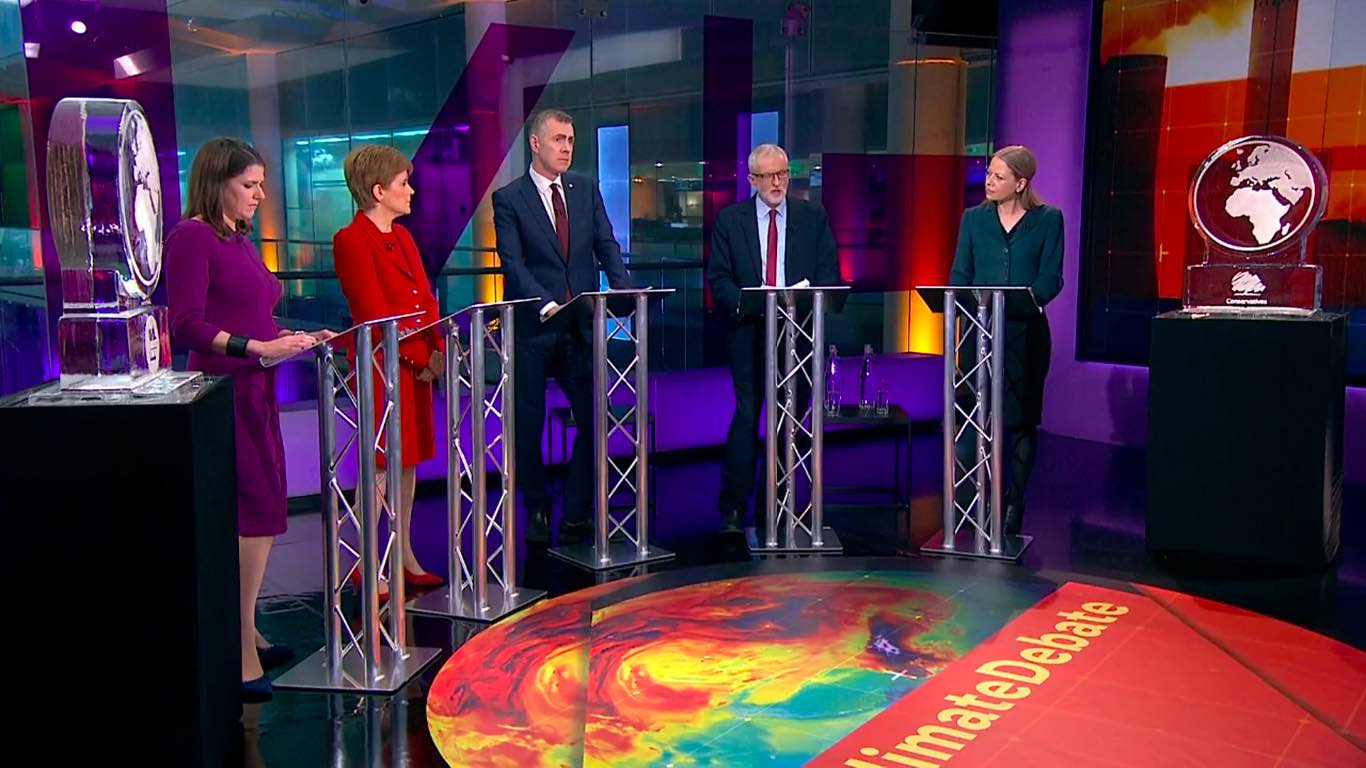 UK Party leaders debate over the climate crisis as Boris Johnson and Nigel Farage are represented by blocks of ice.