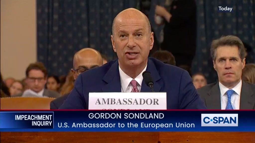 US Ambassador to the European Union Gordon Sondland speaks to the US House hearing as part of an impeachment investigation of US President Donald Trump.