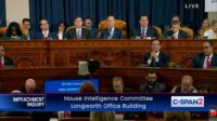 Representatives of the US House are shown during impeachment investigation of US President Donald Trump.