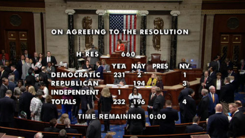 Screenshot showing tally of House vote to pass HR 660, 232-196.