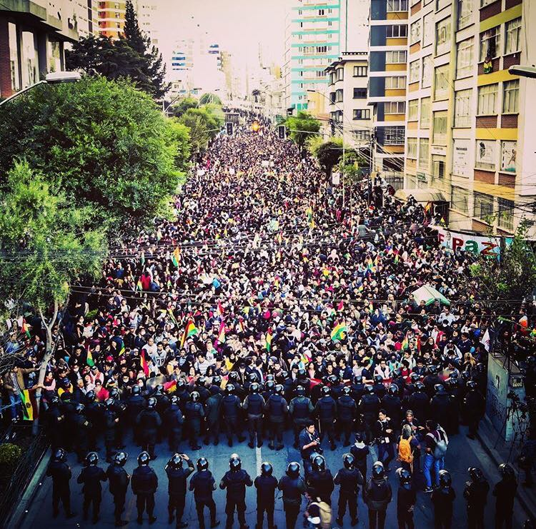 Demonstrations in La Paz, Bolivia against electoral fraud and the government of Evo Morales