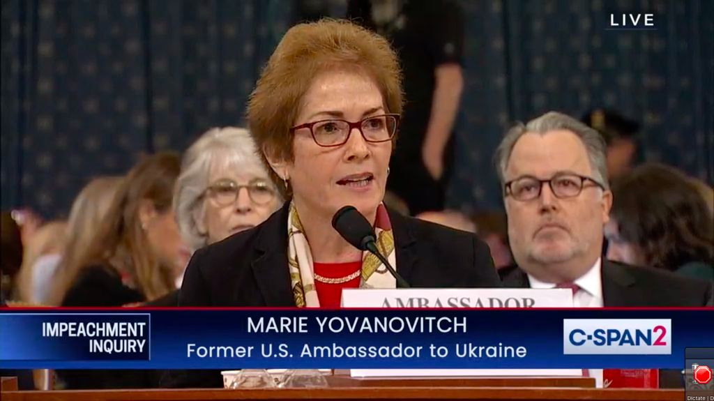 Marie Yovanovitch speaks to the US House hearing as part of an impeachment investigation of US President Donald Trump.