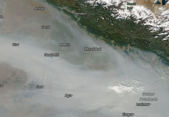 Satellite image of haze over India on November 4, 2019.