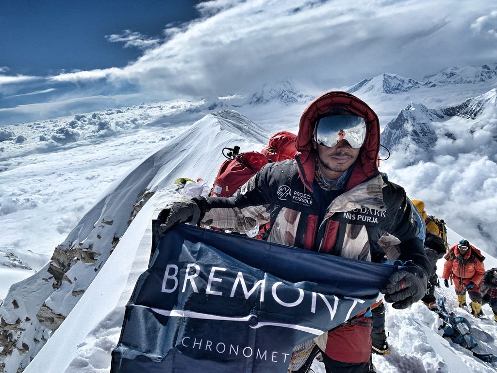 Nims Purja at the top of Annapurna in Nepal.