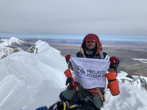 Nims Purja at the top of Shishapangma.