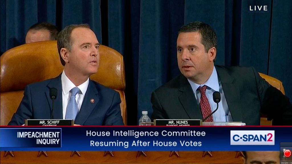 Representatives Adam Schiff (left) and Devin Nunes (right) shown during the impeachment investigation of US President Donald Trump.