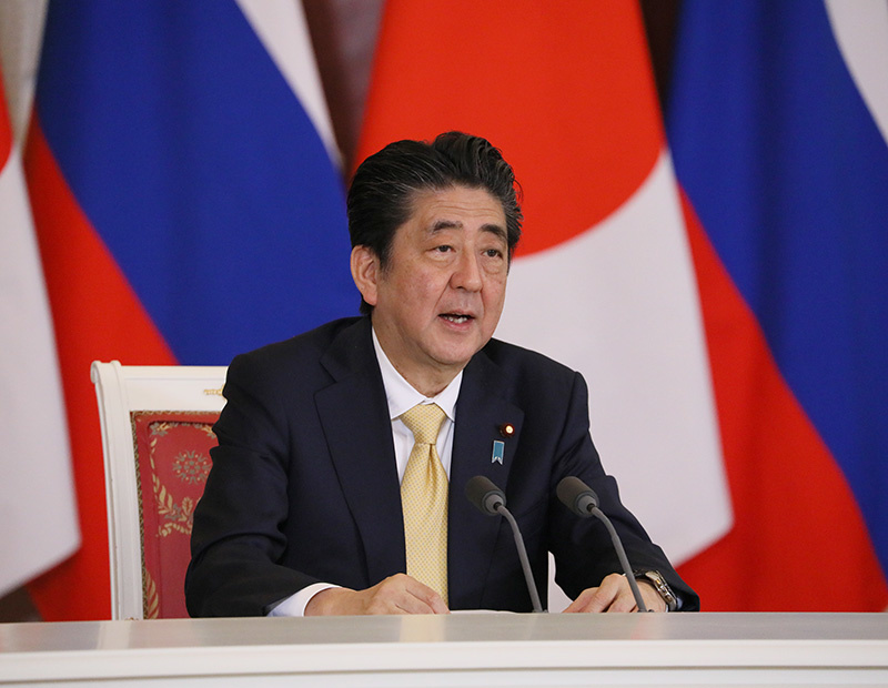 Prime minister Shinzō Abe at a joint press conference in Russia in 2018.
