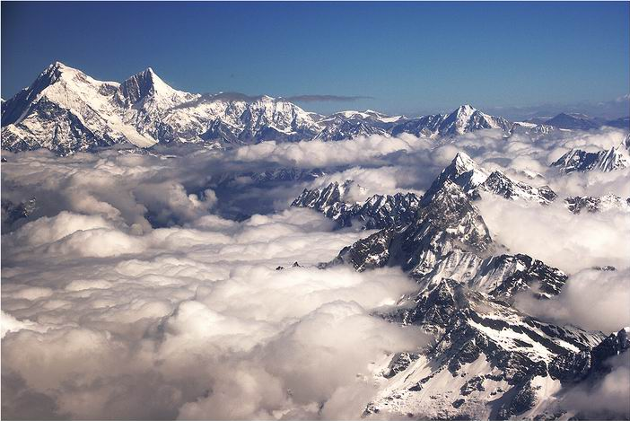 Shishapangma (left) from mountain flight, Nepal
