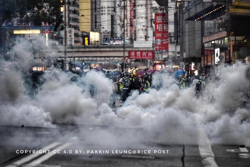 Tear gas on the street, Hong Kong, November 2.