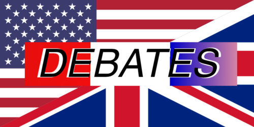 "Combined flags of the United States and the United Kingdom with the word ""Debates"" on top."