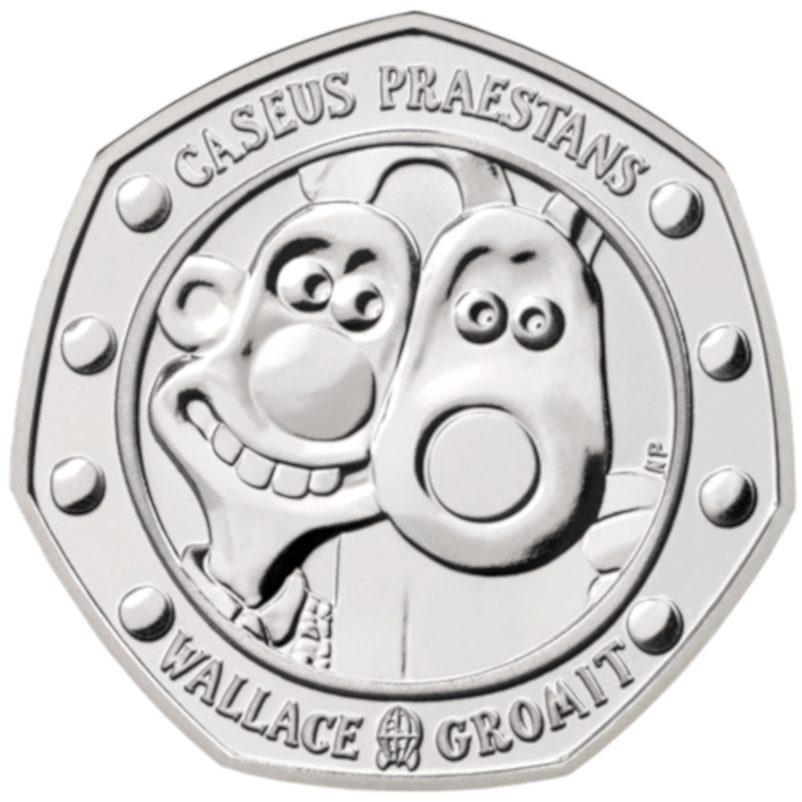 The 50-pence coin celebrating 30 years of Wallace and Gromit released by the Royal Mint.