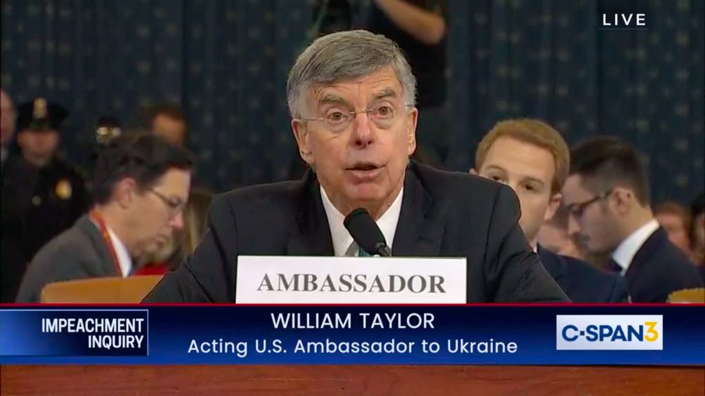 William Taylor speaks to the US House hearing as part of an impeachment investigation of US President Donald Trump.