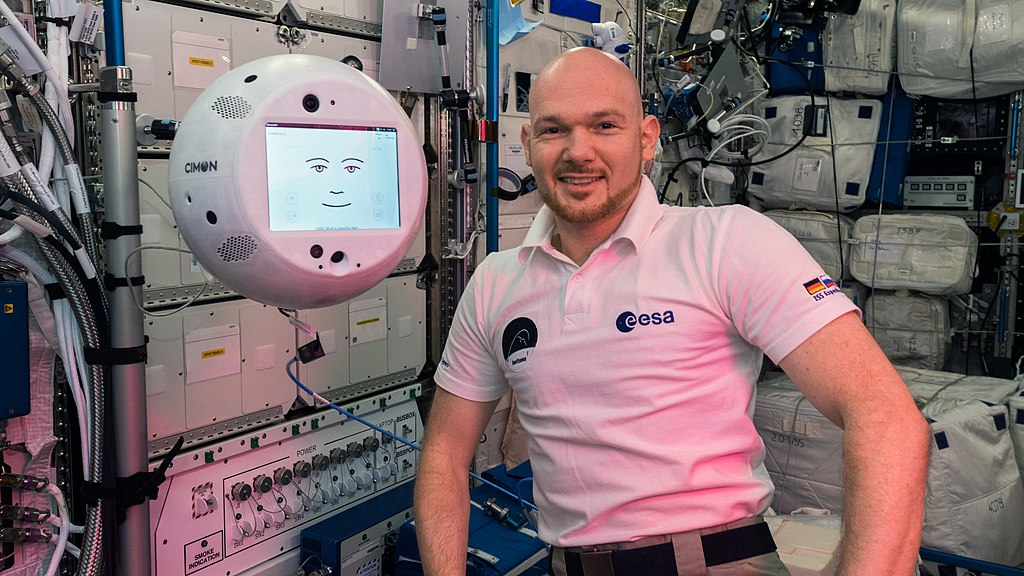 ESA astronaut Alexander Gerst with CIMON, an artificial intelligence helper aboard the station.